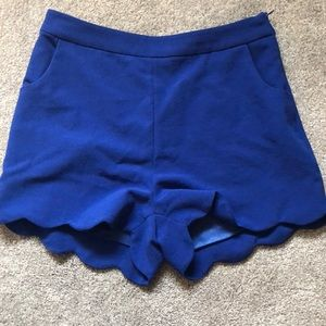 High waisted scalloped shorts